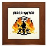 Firefighter Silhouette Framed Tile
