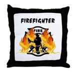 Firefighter Silhouette Throw Pillow