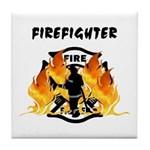Firefighter Silhouette Tile Coaster