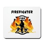 "Firefighter Silhouette Mousepad makes a great gift featuring flames, a fireman and the word ""Firefighter"" at the top!"