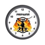 Firefighter Silhouette Wall Clock