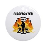 Firefighter Silhouette Ornament (Round)