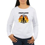 Firefighter Silhouette Women's Long Sleeve T-Shirt