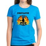 Firefighter Flames Silhouette Women's Dark T-Shirt