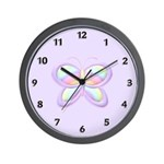Personalized clocks for girls and the baby's room featuring lavender background and butterfly with rainbow designs!