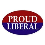 Proud Liberal (oval bumper sticker)