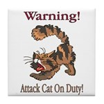 Warning! Attack Cat Tile Coaster