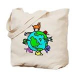 Earth Day Tote Bags filled with planet earth and wildlife animals.
