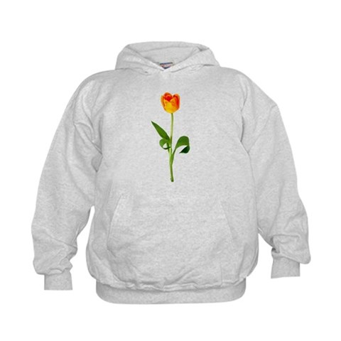 Orange Tulip Flower Kids Hoodie by CafePress