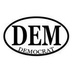 DEM (oval democrat bumper sticker)