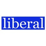 liberal bumper sticker (white on blue)