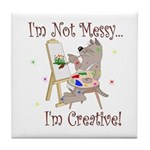 I'm Not Messy... Cat Tile Coaster