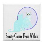 Beauty Comes - Cat Tile Coaster