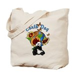"Earth Day Tote Bags featuring ""planet earth"", panda bear and sunflowers show you are green friendly!"