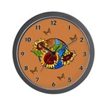 Sunflower Planet Wall Clock has an earthy brown background, sunflowers and planet earth with butterflies circling the planet.