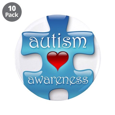 Autism Awareness Blue  Autism 3.5 Button 10 pack by CafePress