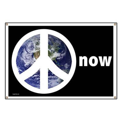 Take this protest sign with you to antiwar demonstrations, and then bring it home to hang up in a window or your front porch. Peace on Earth now!