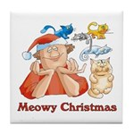 Meowy Christmas Tile Coaster
