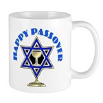 Happy Passover Mug with star of David, wine glass and jewish theme designs for the holiday.