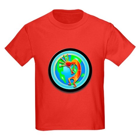 Product Image of Kokopelli on the Earth Kids Dark T-Shirt