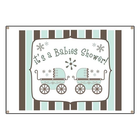 Babies Shower  Twins Banner by CafePress