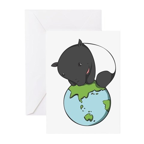 : 'Tapir on World' Animals Greeting Cards Pk of 20 by CafePress