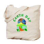 Earth Day starts at home Tote Bag shows planet earth, bright sunshine and rolling green fields.