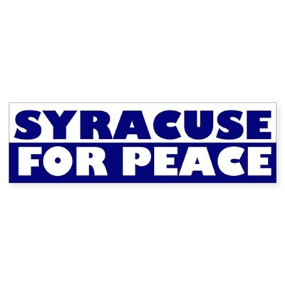 Syracuse for Peace bumper sticker