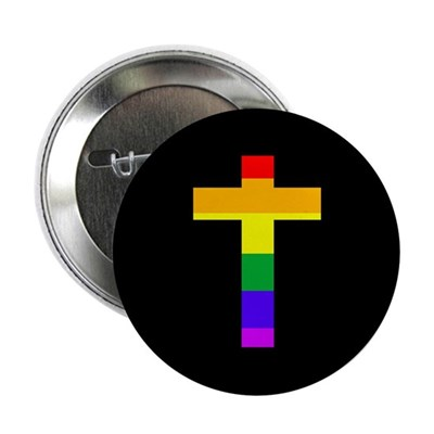 "Rainbow Cross 2.25"" Pinback Button"