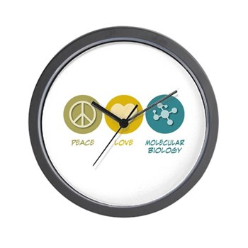 Peace Love Molecular Biology Wall Clock | Gifts For A Geek | Geek T-Shirts