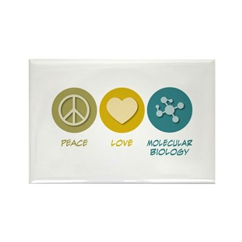 Peace Love Molecular Biology Rectangle Magnet (10 | Gifts For A Geek | Geek T-Shirts