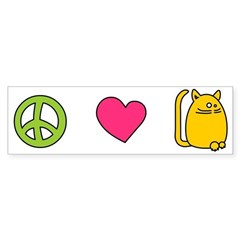 Peace Love Cats – Funny Cat Sticker (Bumper)