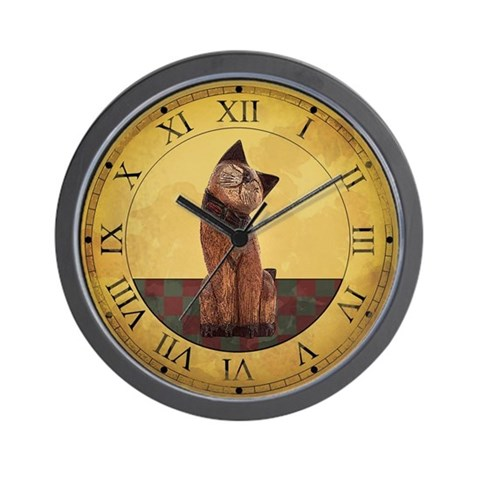 Country Cat Clock Wall Clock by CafePress