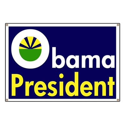 Barack Obama represents the dawning of a new hope. Barack Obama for President! (Pro-Obama banner, yellow and white on blue)
