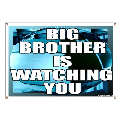 Orwell was just a few decades too early. Now it is true: Big Brother IS Watching You. (Anti-Surveillance Banner)