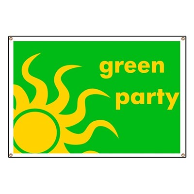 Support the Green Party with this yellow and green sun-styled banner.