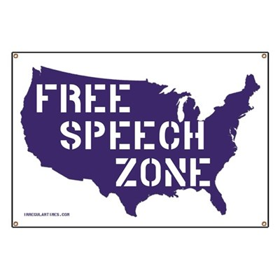 All of America is a Free Speech Zone! Make the point with this USA Map Banner for first amendment liberty.