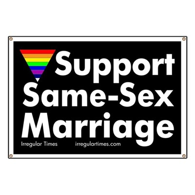 Show your support for same-sex marriage with this rainbow triangle banner.
