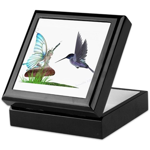 Hummingbird and Fairy  Fairy Keepsake Box by CafePress