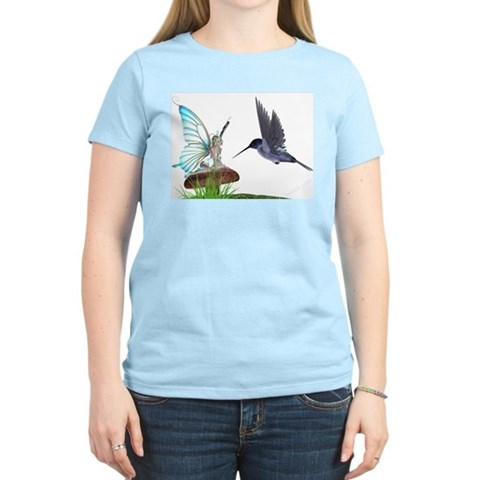 Hummingbird and Fairy Women's Pink T-Shirt Fairy Women's Light T-Shirt by CafePress