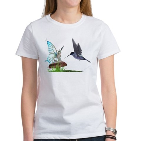 Hummingbird and Fairy  Fairy Women's T-Shirt by CafePress