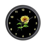 Sunflower Gift Wall Clock With Black Background.