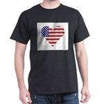 united states flag with heart T-Shirt