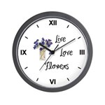 Live, Love and Flowers Wall Clock