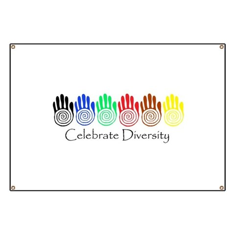 Celebrate Diversity Rainbow Hands  Peace Banner by CafePress
