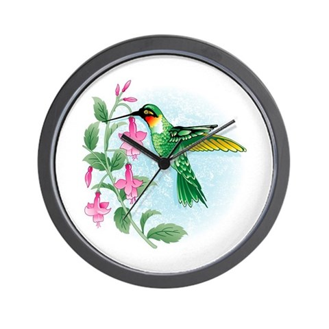 FUCIA HUMMINGBIRD  Bird Wall Clock by CafePress