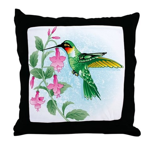 FUCIA HUMMINGBIRD  Bird Throw Pillow by CafePress