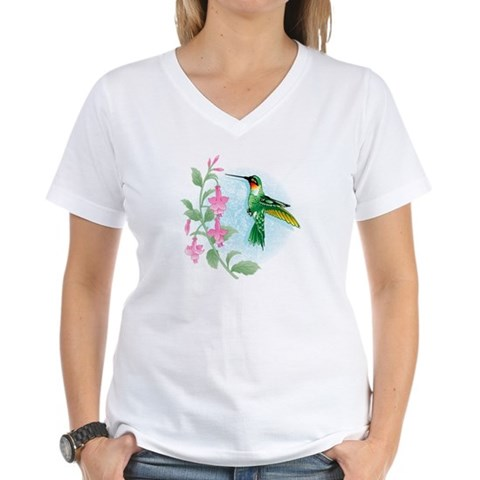 FUCIA HUMMINGBIRD  Bird Women's V-Neck T-Shirt by CafePress