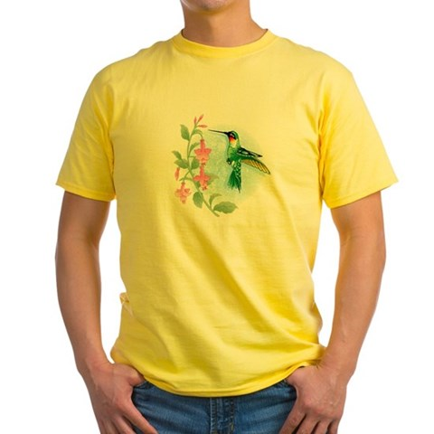 FUCIA HUMMINGBIRD  Bird Yellow T-Shirt by CafePress