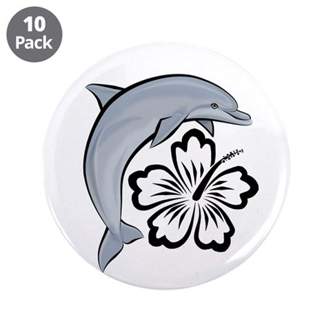 Dolphin Hibiscus 3.5quot; Button 10 pack Animals 3.5 Button 10 pack by CafePress